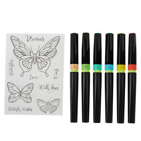 Spectrum Noir Vintage Tones Sparkle Pens and Clear Stamps