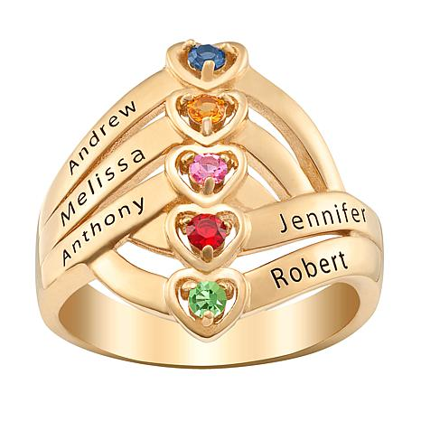 Stacked Hearts Family Crystal Birthstone Ring