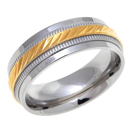 Stainless Steel 8mm 2-Tone Textured Wedding Band