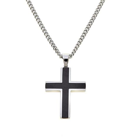"""Stainless Steel & Black IP Cross Pendant with 24"""" Chain"""