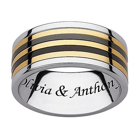 Stainless Steel Engraved Flat Tri-Tone Spinner Band