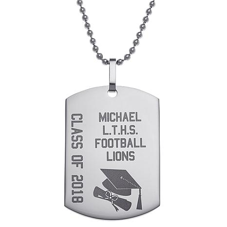 db494e7add42 Stainless Steel Engraved Graduation Dog Tag Pendant with Chain - 8646244    HSN