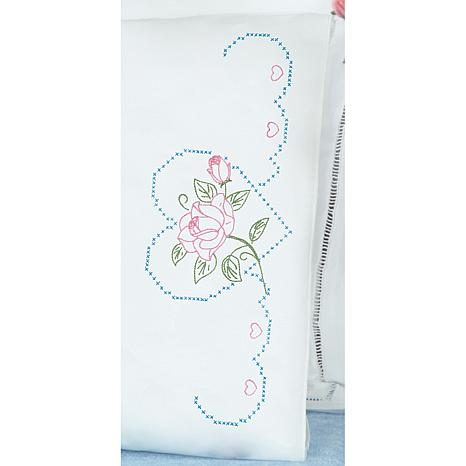 Stamped Pillowcase w/ White Perle Edge - Rose And Heart