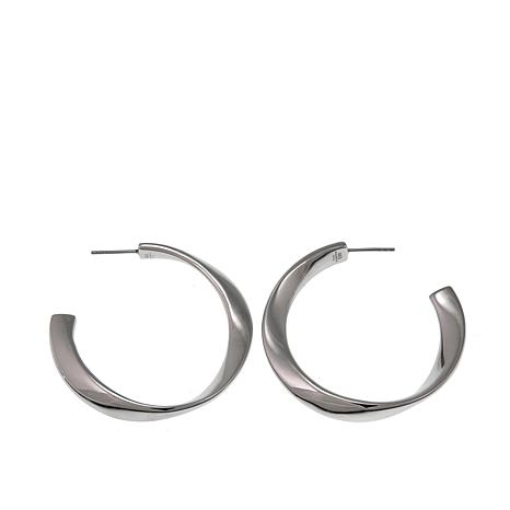 "Stately Steel 1-15/16"" Twisted Hoop Earrings"