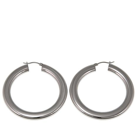 "Stately Steel 2-1/8"" Flat Hoop Earrings"