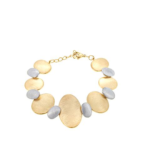 "Stately Steel 2-Tone Brushed Oval 7"" Bracelet"