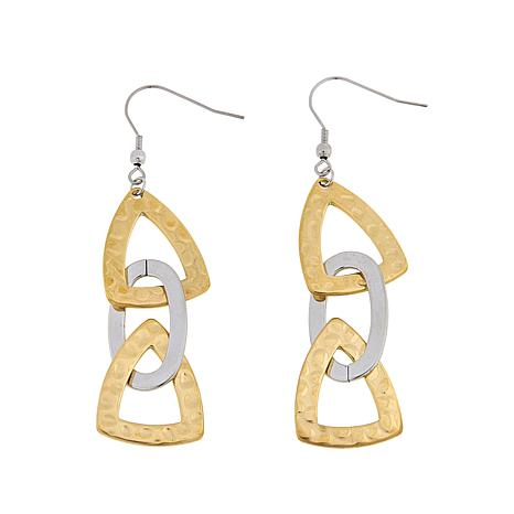 Stately Steel 2-Tone Triangle and Oval Drop Earrings