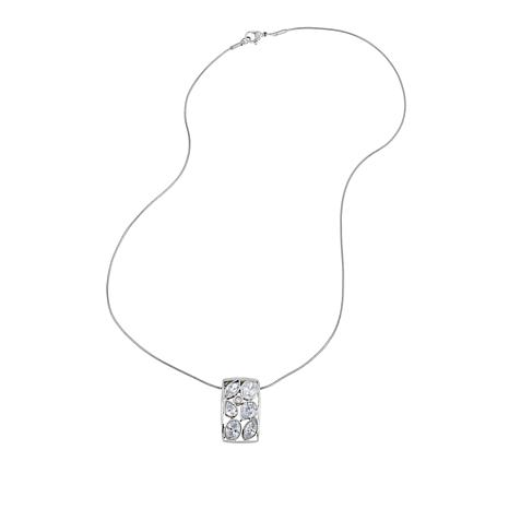 Stately Steel 2.46ctw CZ Multi-shaped Stone Bar Pendant with Chain