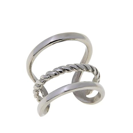 Stately Steel 3-Row Negative-Space Design Cuff Ring
