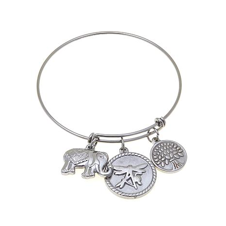 Stately Steel Adjustable Wire Bangle Bracelet w/Charms