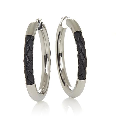 Stately Steel Braided Leather Accent Hoop Earrings