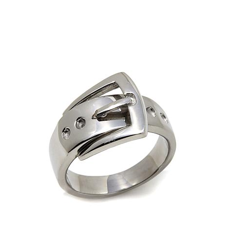 Stately Steel Buckle-Design Ring