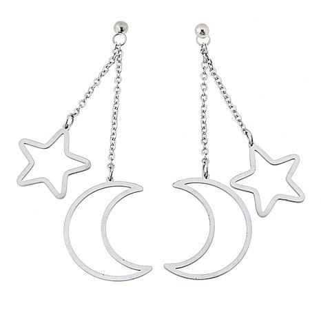 Stately Steel Crescent Moon and Star Double Dangle Earrings