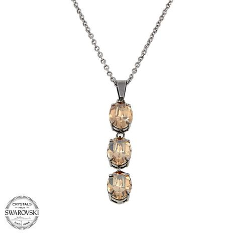 """Stately Steel Crystal 3-Stone Rolo-Link 16-1/2"""" Pendant Necklace"""