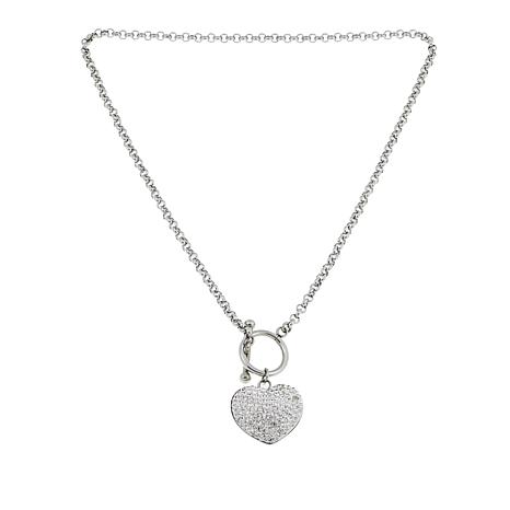 """Stately Steel Crystal Heart Pendant and Toggle 18"""" Rolo-Chain Necklace"""