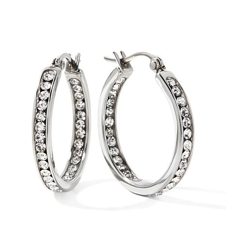 "Stately Steel Crystal Inside/Outside 1"" Hoop Earrings"