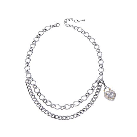 Stately Steel Curb-Link Chain with Crystal Heart