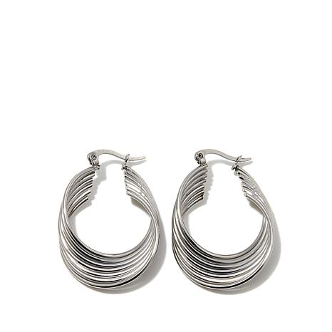 Stately Steel Curved Ribbed Hoop Earrings