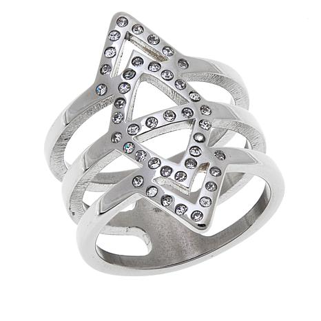 Stately Steel Diamond- and Chevron-Design Crystal Ring