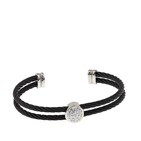 Stately Steel Double Cable-Twist Cuff Bracelet
