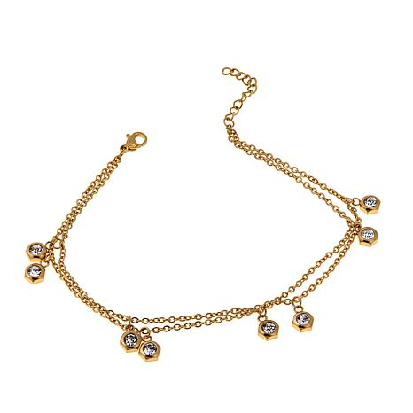 "Stately Steel Double-Row Crystal Drop 9"" Anklet"