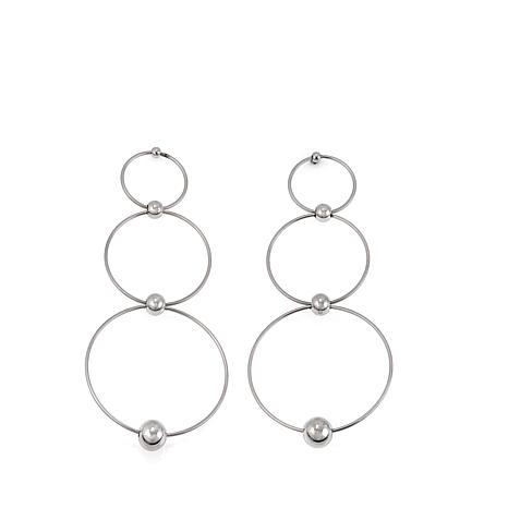 Stately Steel Graduated 3-Hoop Drop Earrings
