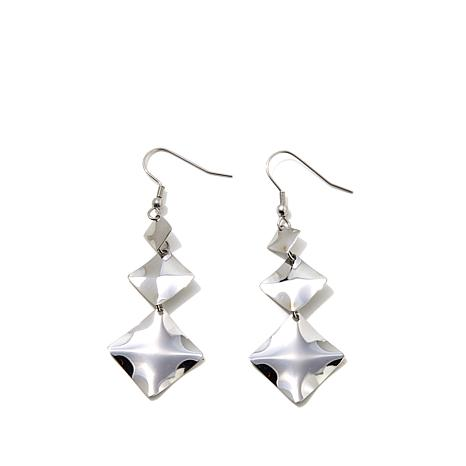 Stately Steel Graduated Square Drop Earrings