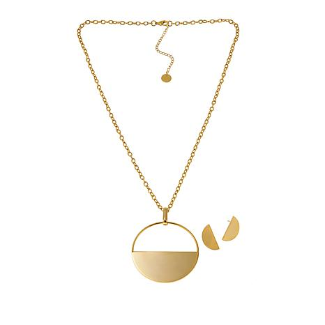 Stately Steel Half-Moon Necklace and Earrings Set