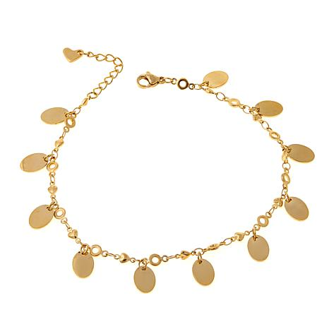Stately Steel Heart-Link Oval Drop Anklet