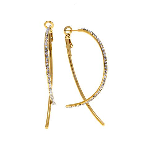 Stately Steel Interesting Crystal Hoop Earrings