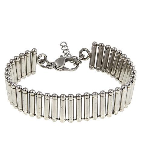 """Stately Steel Ladder-Chain 7-1/4"""" Bracelet"""
