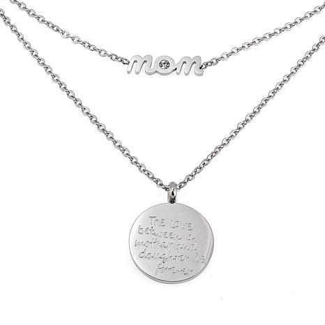 "Stately Steel ""Mom"" 2-Strand Engraved Disc Drop 16"" Necklace"