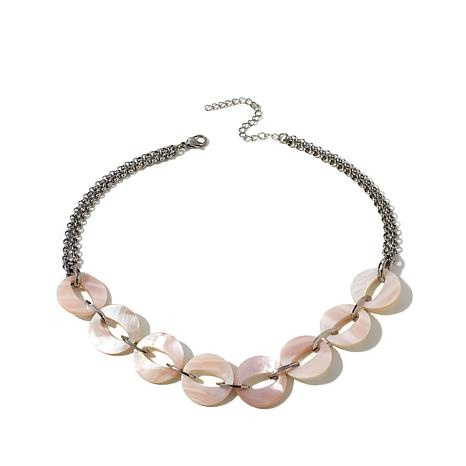 """Stately Steel Mother-of-Pearl Disc 17"""" Rolo Necklace"""