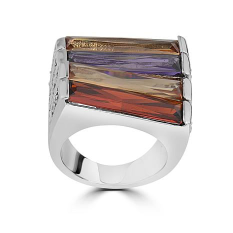 Stately Steel Multi-Color Glass Baguette Ring