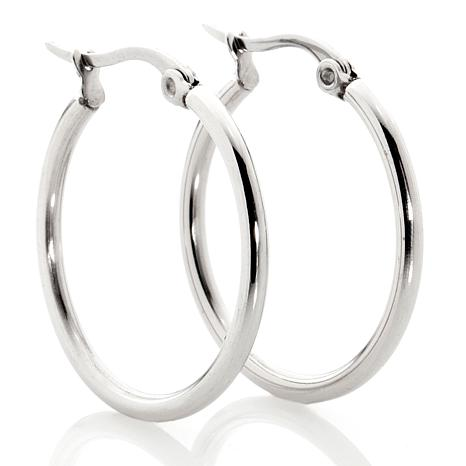 Stately Steel Oval Or Round Small Wire Hoop Earrings