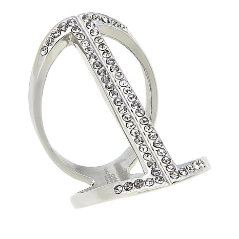 Stately Steel Pavé Crystal Stainless Steel Open Knuckle Ring