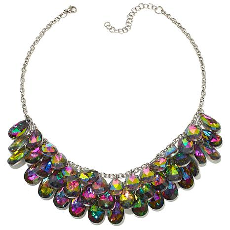 "Stately Steel Pear-Shaped Crystal 18"" Bib Necklace"