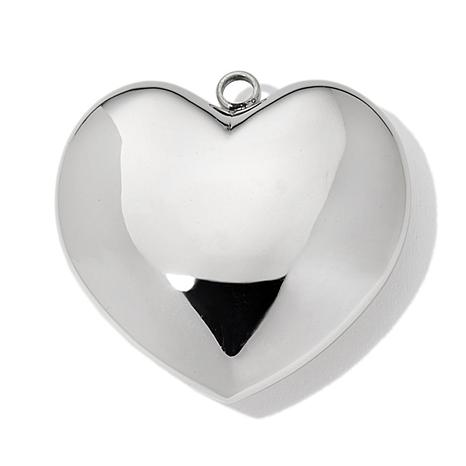 Stately Steel Puffed Heart Pendant