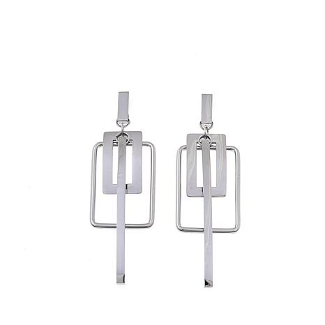 Stately Steel Rectangle & Stick Drop Geometric Earrings