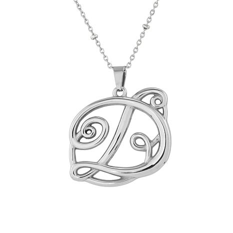 """Stately Steel Scrolled Initial Pendant with 18"""" Beaded Chain Necklace"""