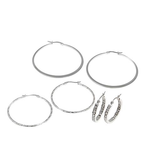 Stately Steel Set of Small, Medium and Large Hoop Earrings