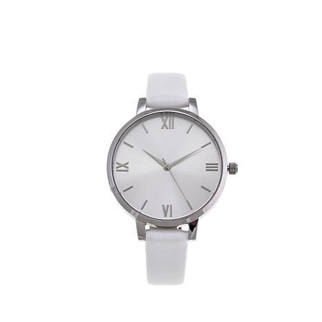 Stately Steel Silvertone Dial Leather Strap Watch