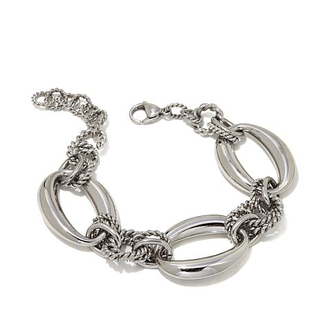Stately Steel Stainless Steel Oval-Link Chain Bracelet