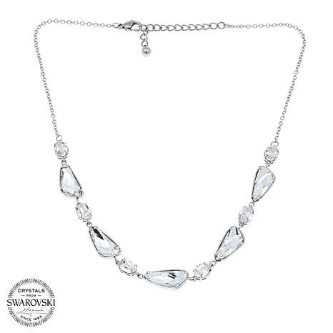 "Stately Steel Triangular and Oval Crystal 16"" Necklace"