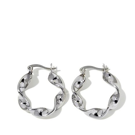 "Stately Steel Twisted 1"" Hoop Earrings"