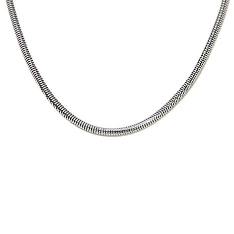 "Stately Steel Wide-Flex Snake Chain 18"" Necklace"