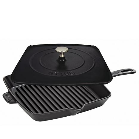 Staub 12 Quot Cast Iron Grill Pan And Press 8012261 Hsn