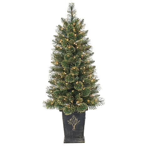 Sterling 4-1/2' Potted Gold Glitter Christmas Tree