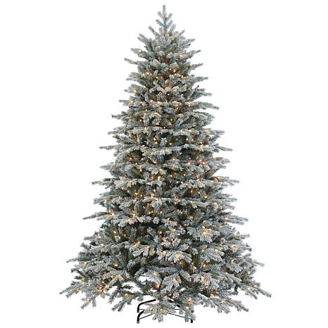 Lighted Christmas Tree.Sterling 7 1 2 Natural Cut Flocked Vermont Spruce Lighted Christmas Tree