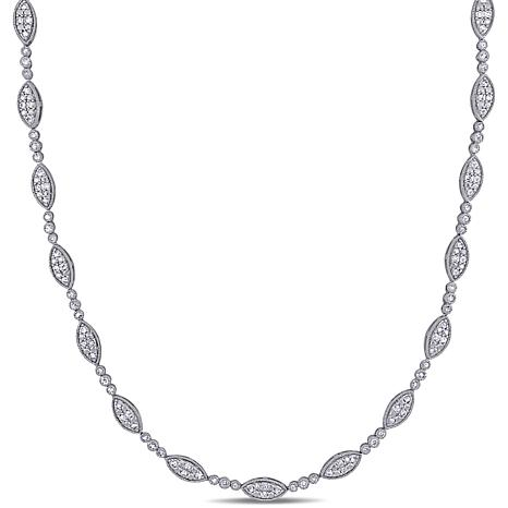 Sterling Silver 1.97ctw Diamond Station Necklace